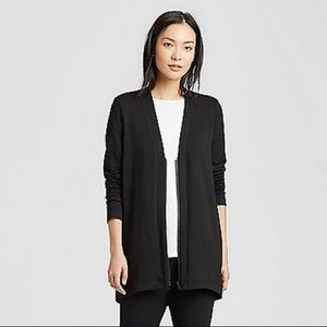 Eileen Fisher Black V-Neck Zip-Front Cardigan